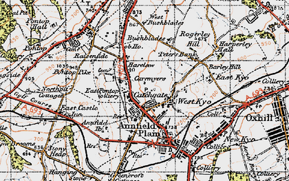 Old map of Catchgate in 1947