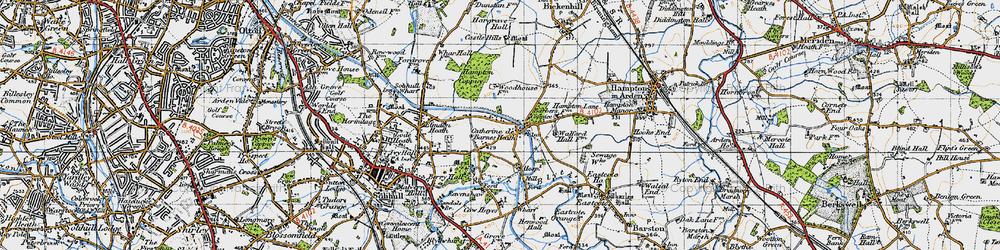 Old map of Catherine-de-Barnes in 1947