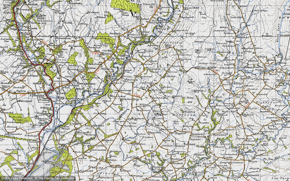 Old Map of Historic Map covering Liddel Park in 1947