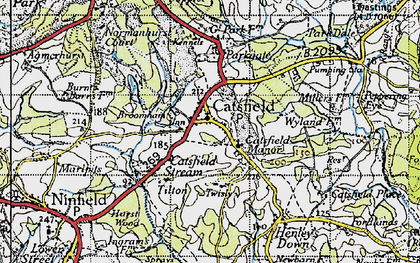 Old map of Catsfield in 1940