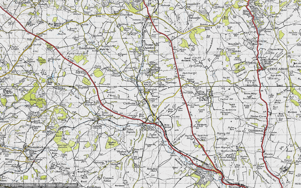 Old Map of Historic Map covering Lankham Bottom in 1945