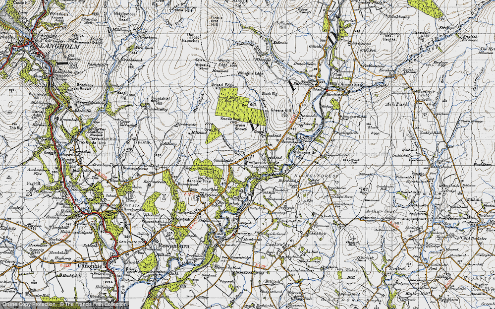 Old Map of Historic Map covering Bankhead in 1947