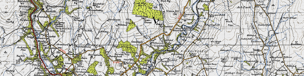 Old map of Tinnisburn Forest in 1947