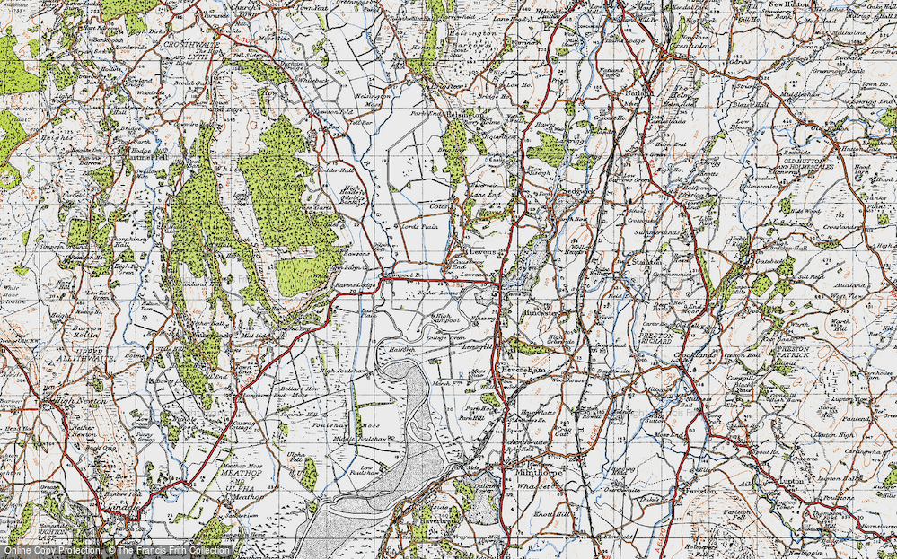 Old Map of Historic Map covering Levens Hall in 1947