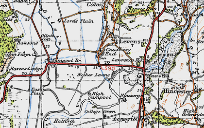 Old map of Levens Hall in 1947