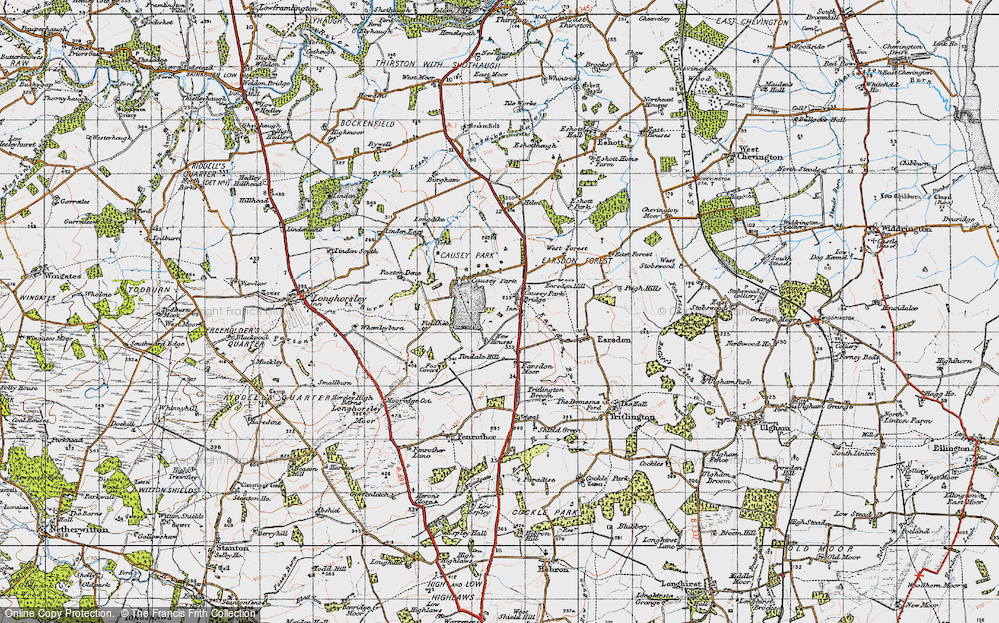Old Map of Historic Map covering Tindale Hill in 1947