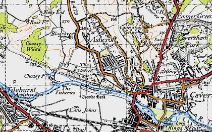 Old map of Caversham Heights in 1947