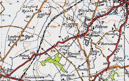 Old map of Cawston in 1946