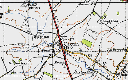 Old map of Caxton in 1946