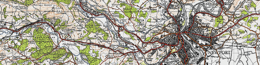 Old map of Cefn in 1947