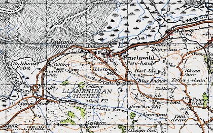 Old map of Cefn-bychan in 1947