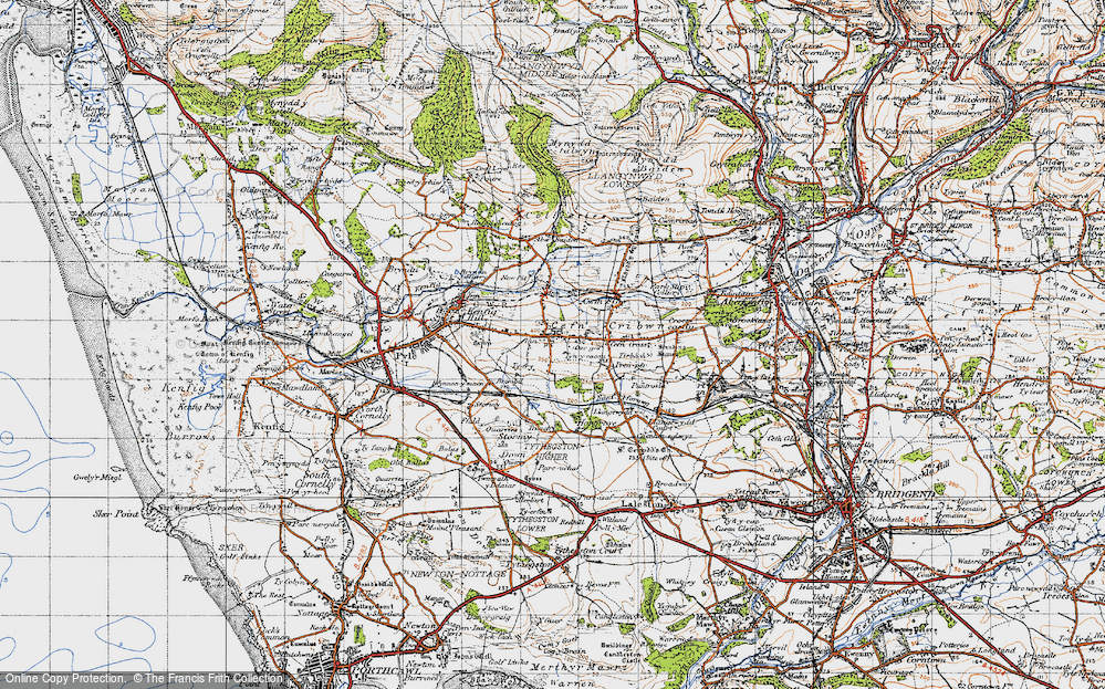 Old Map of Cefn Cribwr, 1947 in 1947