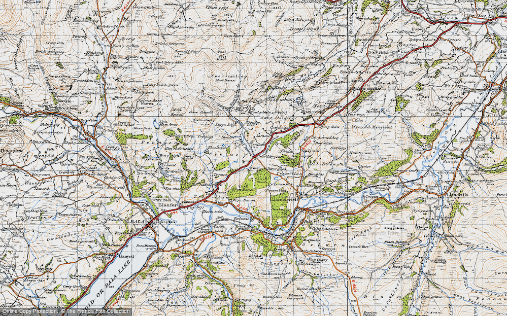 Old Map of Historic Map covering Afon Meloch in 1947