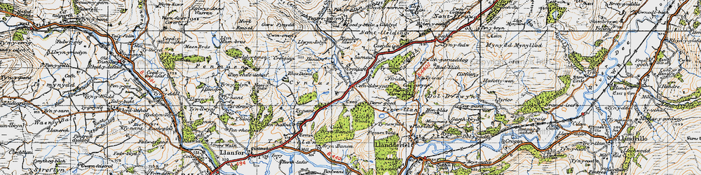 Old map of Afon Meloch in 1947