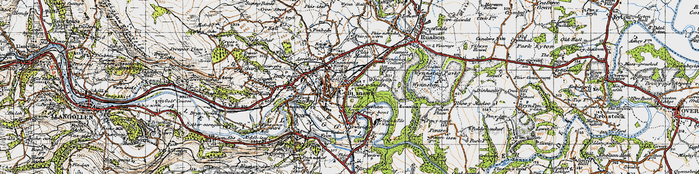 Old map of Cefn-mawr in 1947