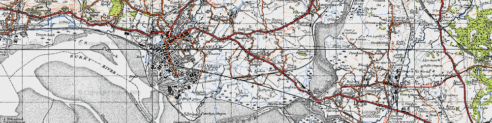 Old map of Tir Morfa in 1947