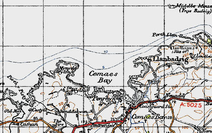 Old map of Cemaes Bay in 1947