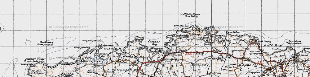 Old map of Wylfa Head in 1947
