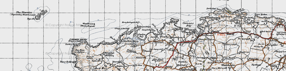 Old map of Cemlyn Bay in 1947
