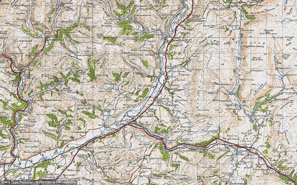 Old Map of Historic Map covering Aberhiriaeth in 1947