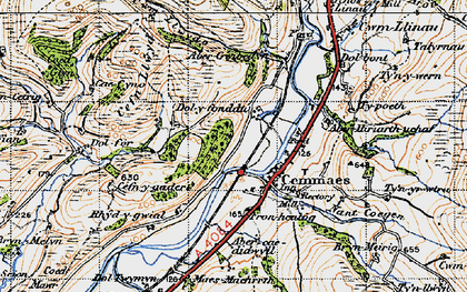Old map of Aberhiriaeth in 1947