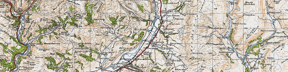 Old map of Cemmaes in 1947