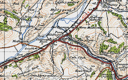 Old map of Cemmaes Road in 1947