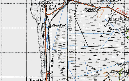 Old map of Afon Leri in 1947
