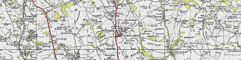 Old map of Yelcombe Bottom in 1945