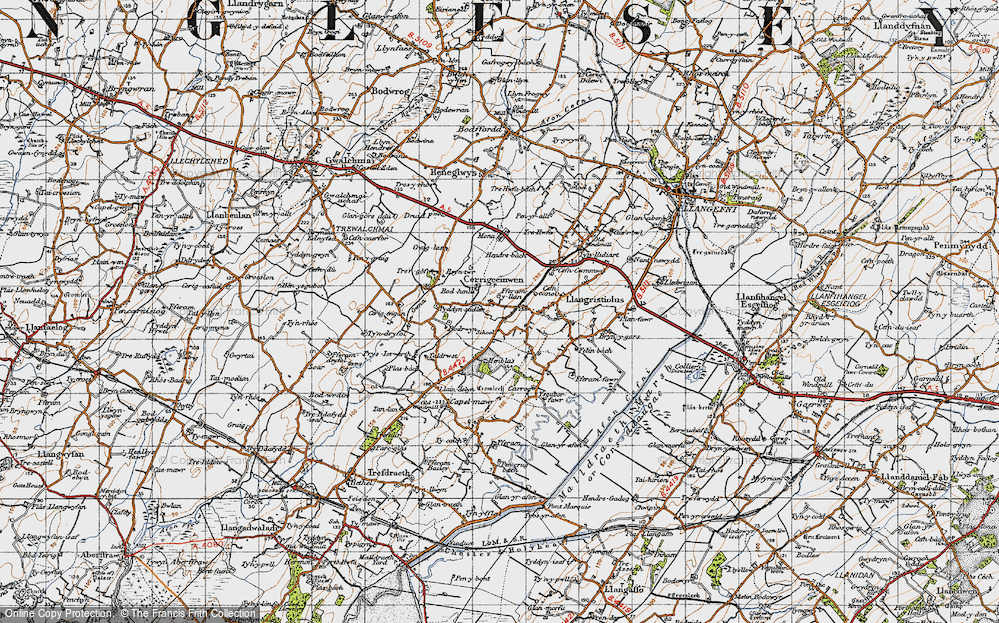 Old Map of Historic Map covering Afon Gwna in 1947
