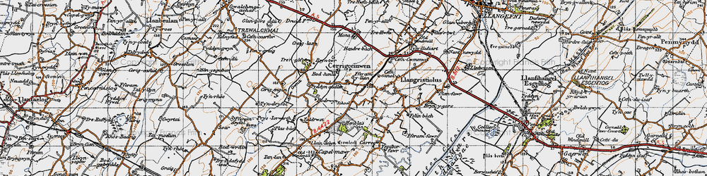 Old map of Afon Gwna in 1947