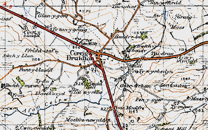 Old map of Cerrigydrudion in 1947