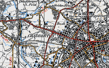 Old map of Chadderton in 1947