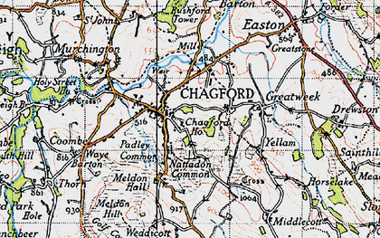 Old map of Chagford in 1946
