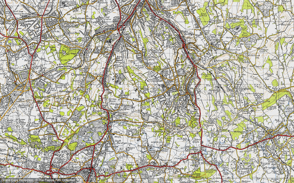 Old Map of Historic Map covering Alderstead Heath in 1946