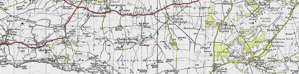 Old map of Winfrith Hill in 1946