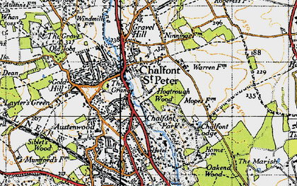 Old map of Chalfont St Peter in 1945