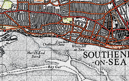 Old map of Leigh Sand in 1946