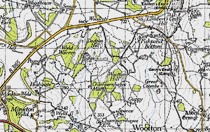 Old map of Wootton Hill in 1945