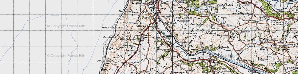 Old map of Aberbrwynen in 1947