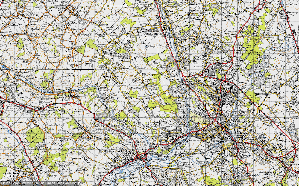 Old Map of Historic Map covering Lees Wood in 1946
