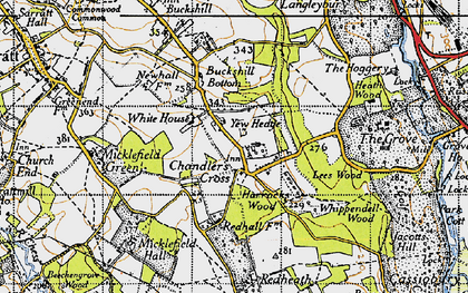 Old map of Chandler's Cross in 1946