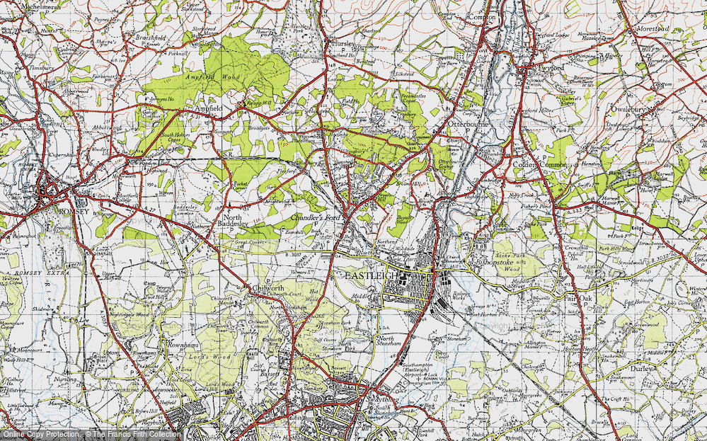 Old Map of Chandler's Ford, 1945 in 1945