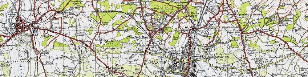 Old map of Chandler's Ford in 1945