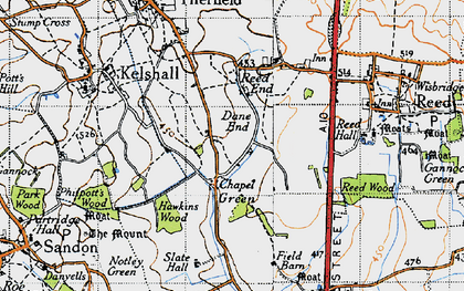 Old map of Chapel Green in 1946