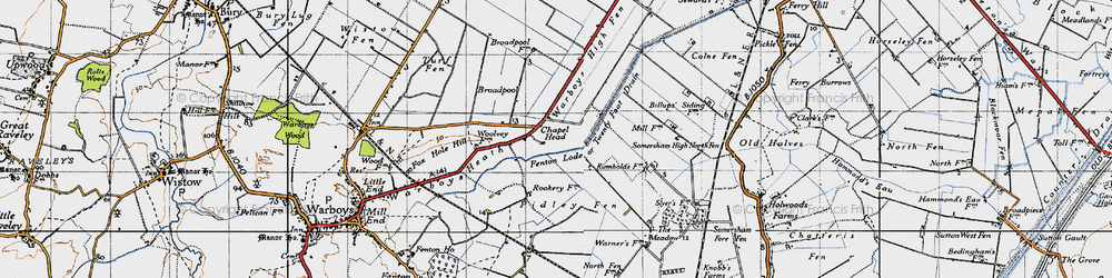 Old map of Tick Fen in 1946