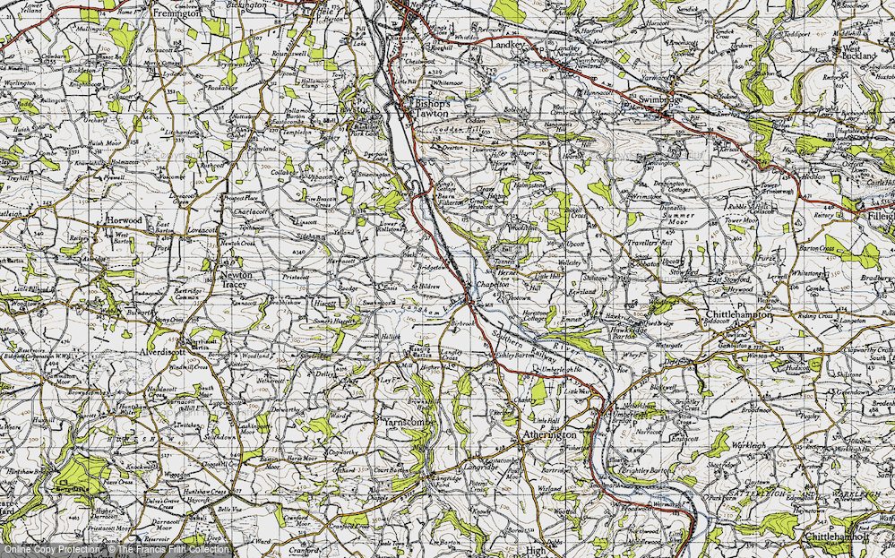 Old Map of Historic Map covering Woolstone in 1946