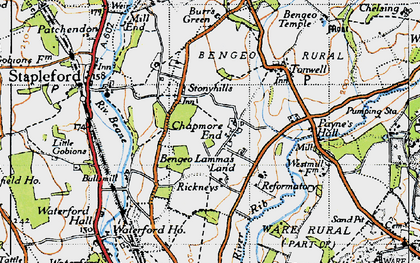 Old map of Chapmore End in 1946