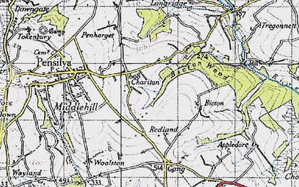 Old map of Charaton Cross in 1946