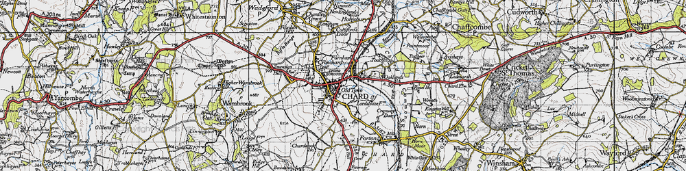 Old map of Chard in 1945
